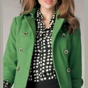 CAbi Wool Blend Green Double Breasted Pea Coat
